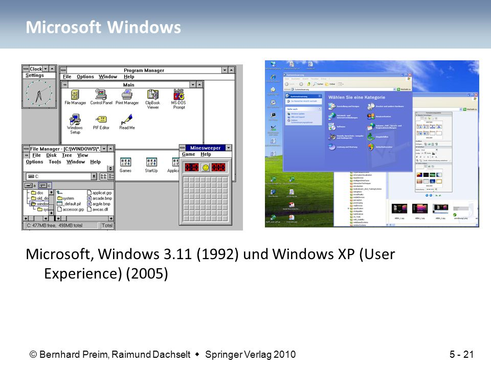Microsoft Windows Microsoft, Windows 3.11 (1992) und Windows XP (User Experience) (2005)