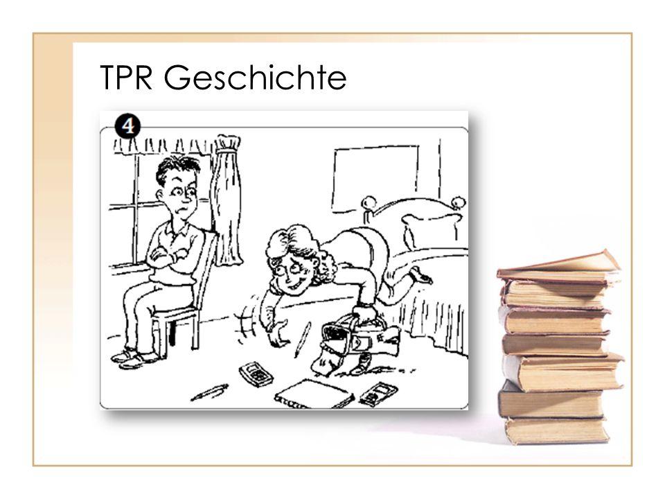 TPR Geschichte Ihr Bruder Holger hat schon neue Schulsachen; sie geht nach Hause und nimmt sie.