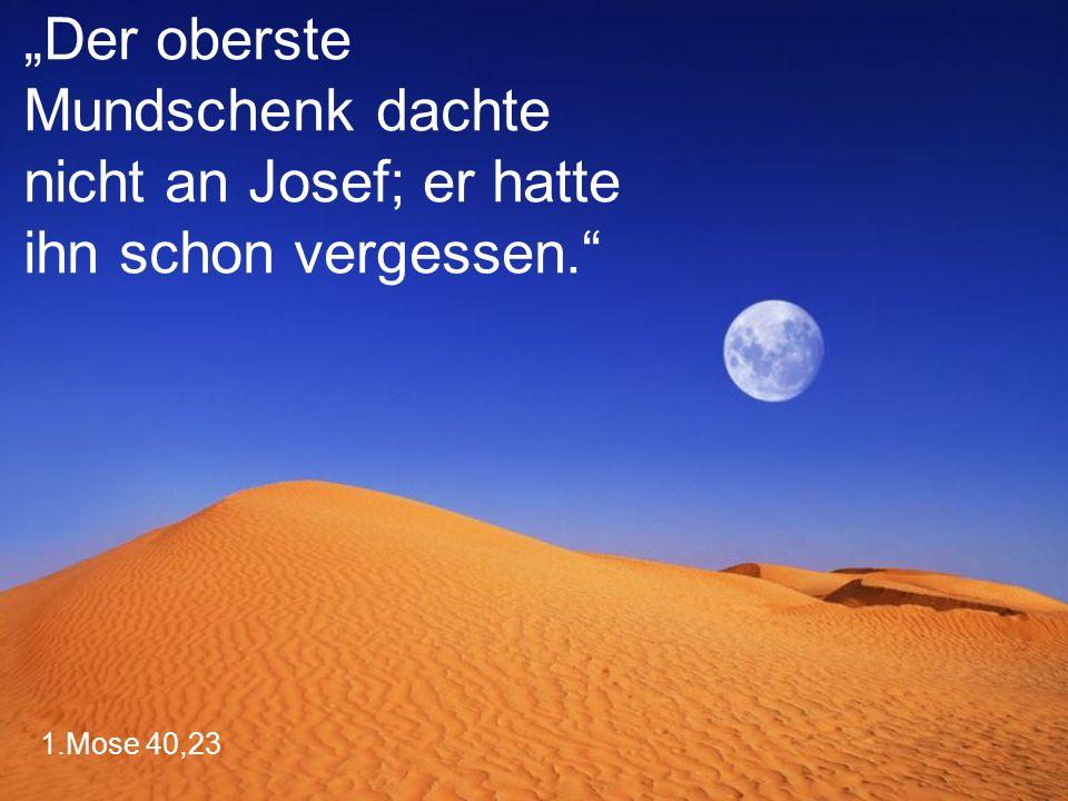 """""""Der oberste Mundschenk dachte nicht an Josef; er hatte ihn schon vergessen."""