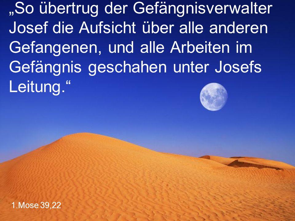 """""""So übertrug der Gefängnisverwalter Josef die Aufsicht über alle anderen Gefangenen, und alle Arbeiten im Gefängnis geschahen unter Josefs Leitung."""