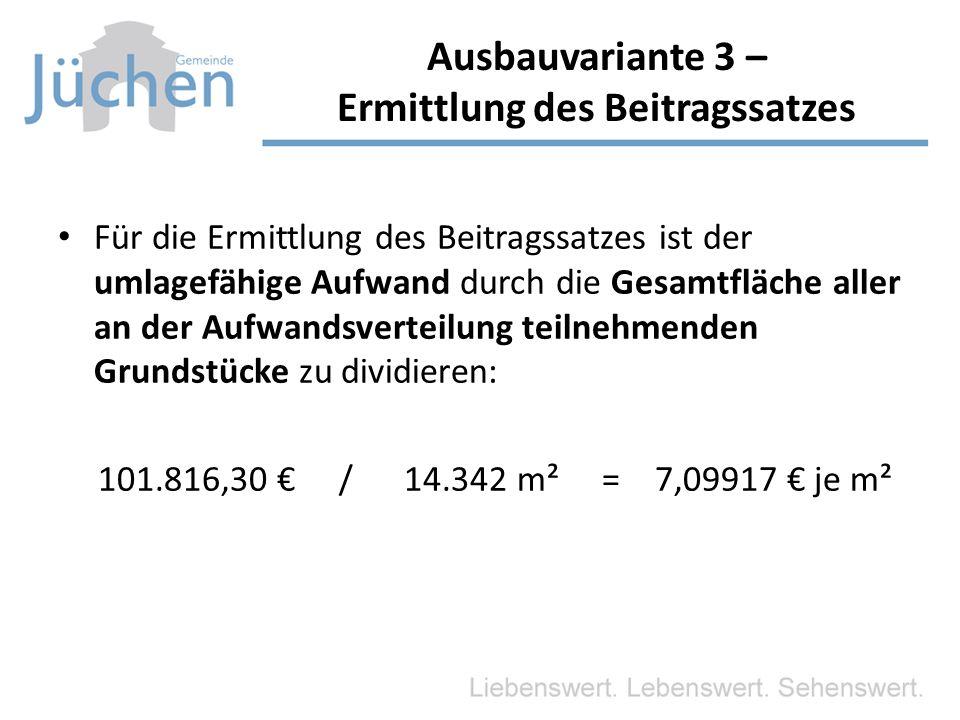 Ausbauvariante 3 – Ermittlung des Beitragssatzes