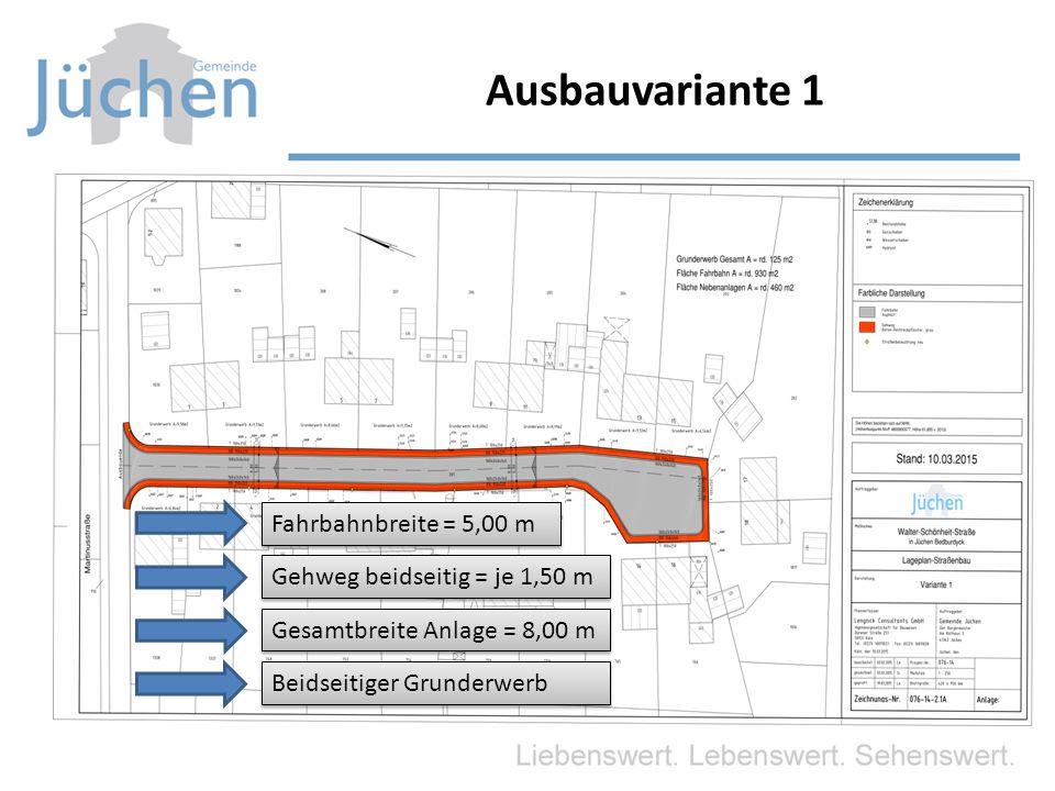 Ausbauvariante 1 Fahrbahnbreite = 5,00 m Gehweg beidseitig = je 1,50 m