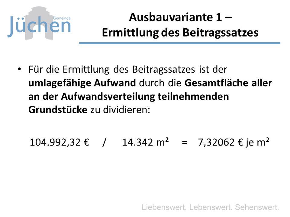 Ausbauvariante 1 – Ermittlung des Beitragssatzes
