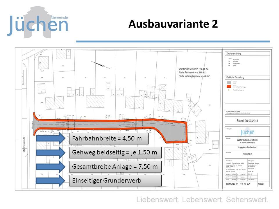 Ausbauvariante 2 Fahrbahnbreite = 4,50 m Gehweg beidseitig = je 1,50 m