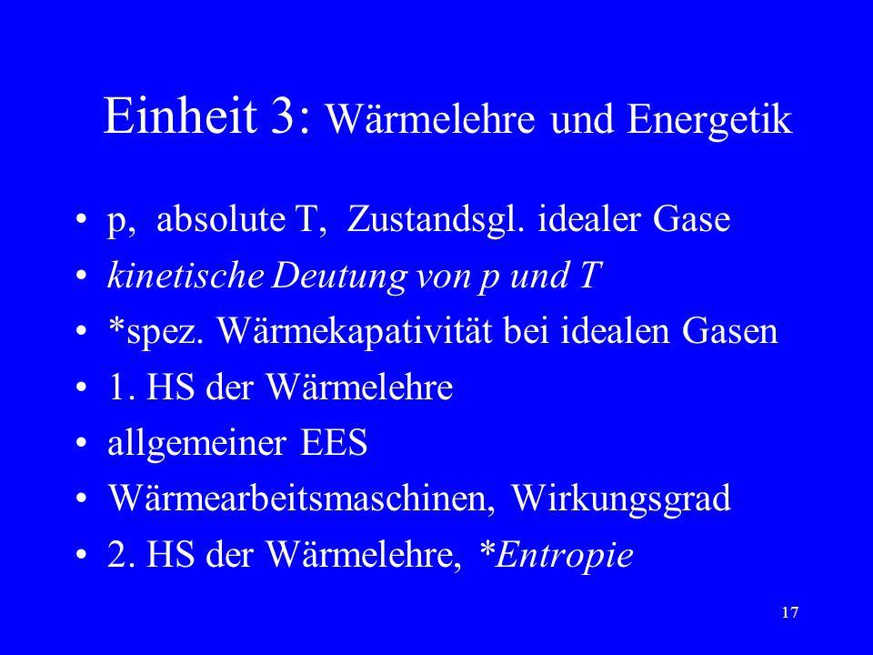 Einheit 3: Wärmelehre und Energetik