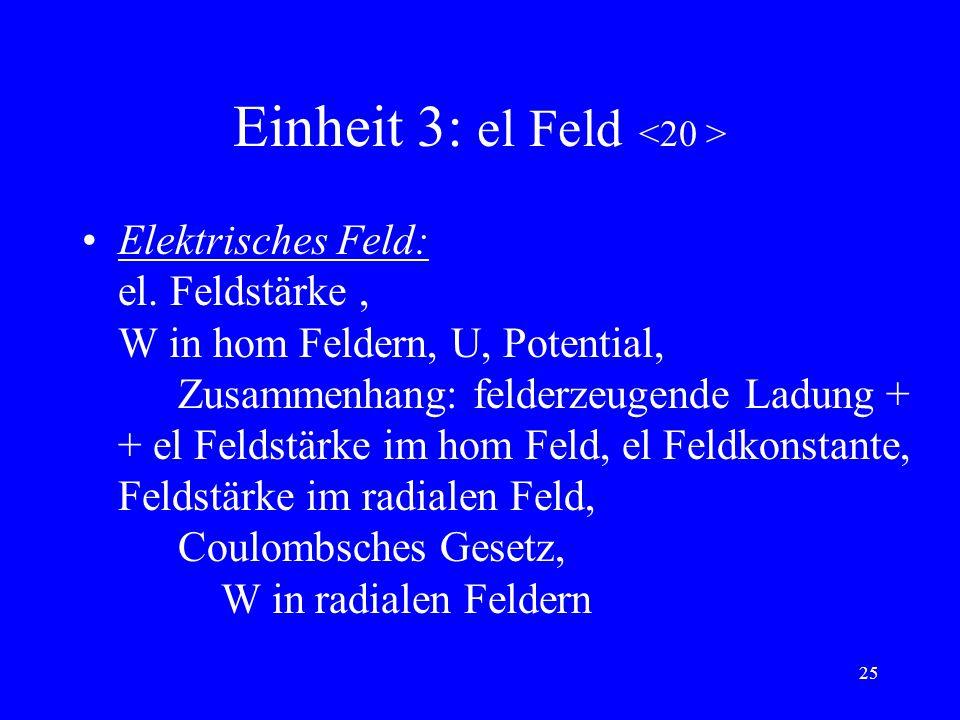 Einheit 3: el Feld <20 >