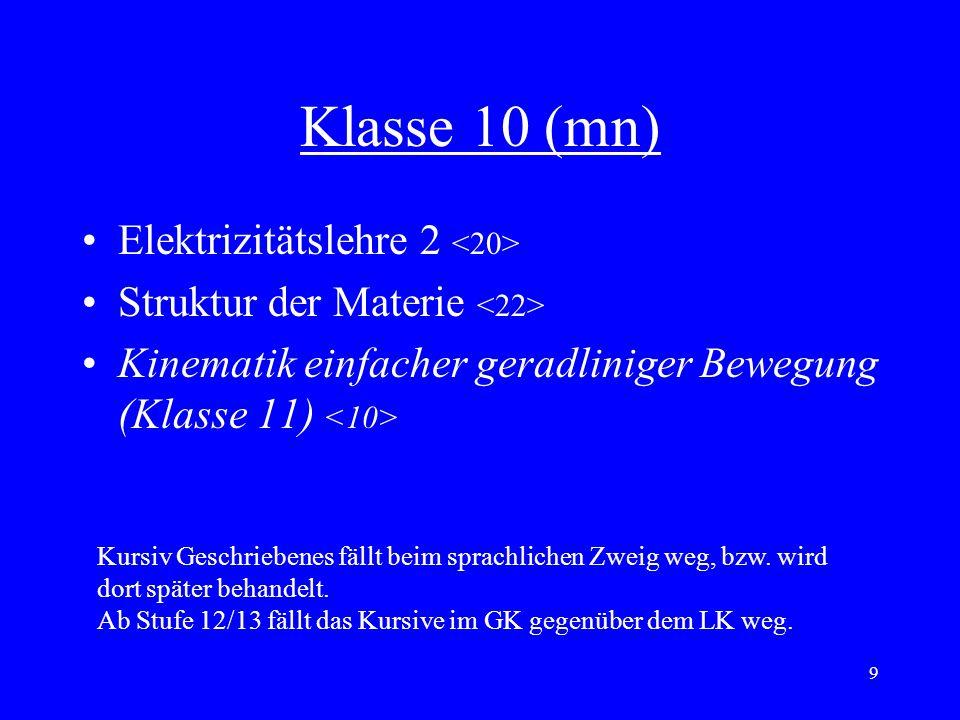 Klasse 10 (mn) Elektrizitätslehre 2 <20>