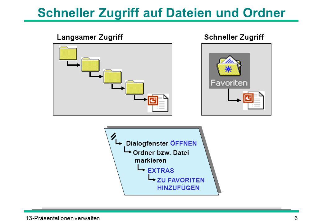 Schneller Zugriff auf Dateien und Ordner