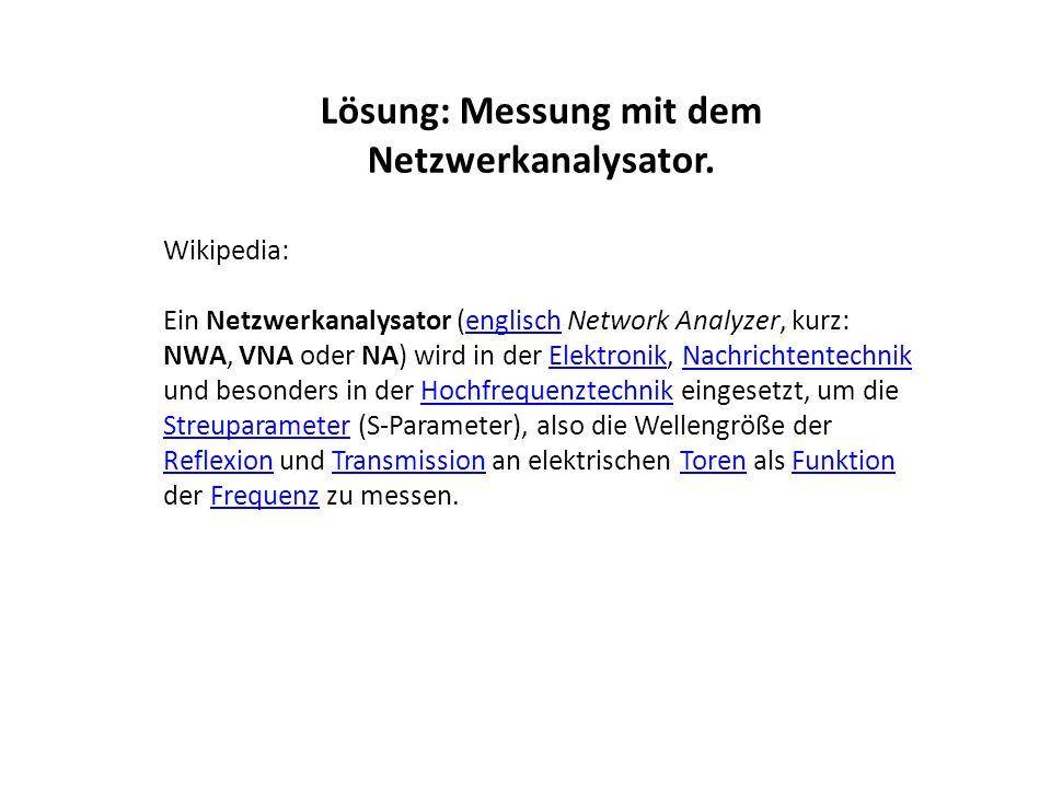 Lösung: Messung mit dem Netzwerkanalysator.