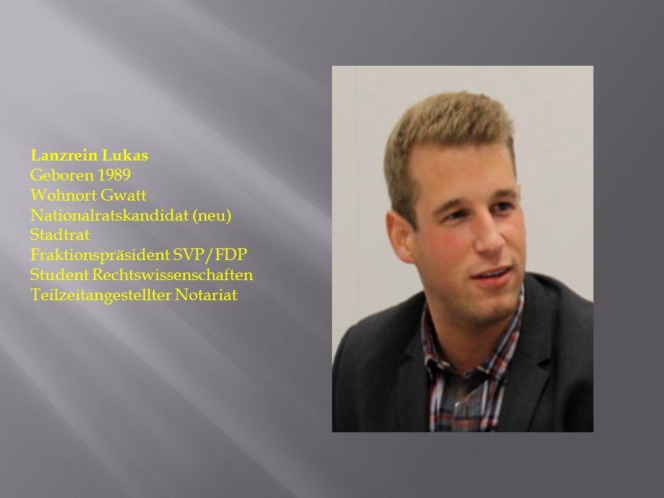 Lanzrein Lukas Geboren 1989. Wohnort Gwatt. Nationalratskandidat (neu) Stadtrat. Fraktionspräsident SVP/FDP.