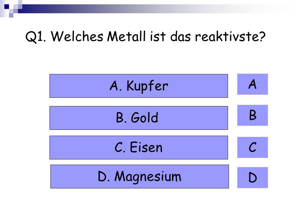Q1. Welches Metall ist das reaktivste