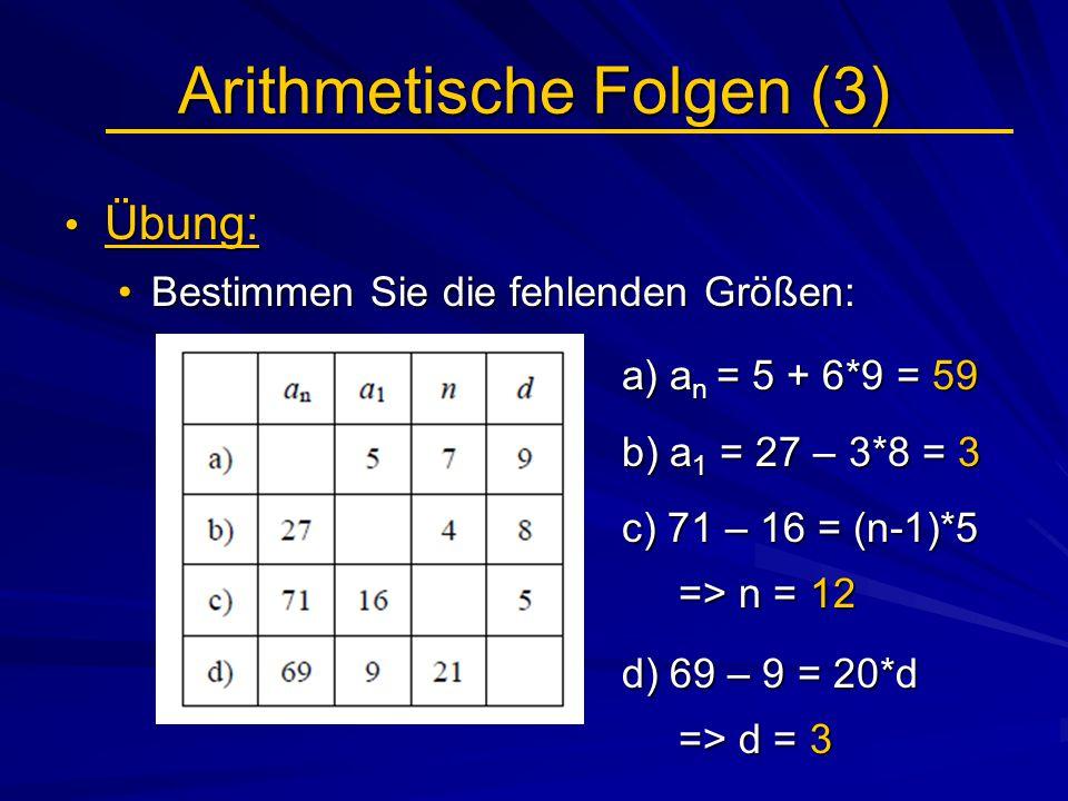 Arithmetische Folgen (3)