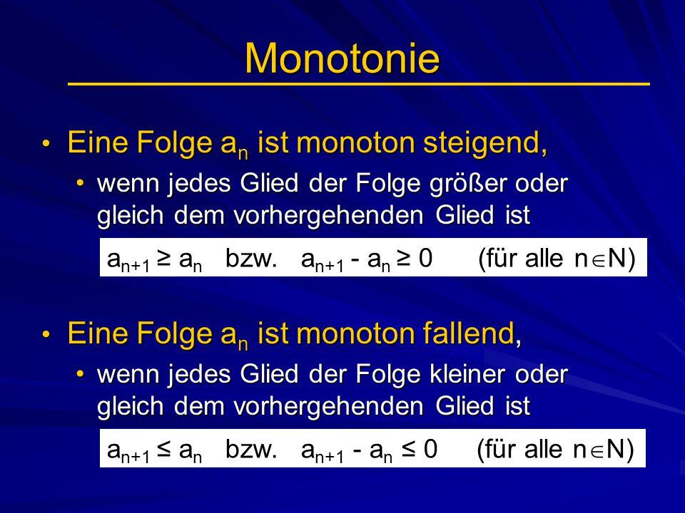 Monotonie Eine Folge an ist monoton steigend,