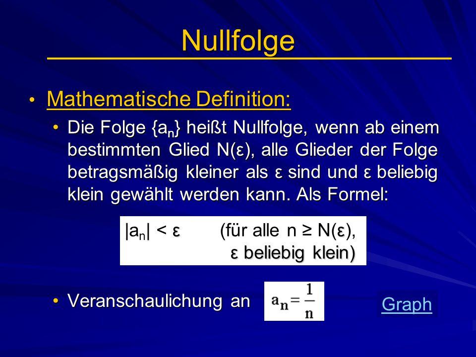 Nullfolge Mathematische Definition: