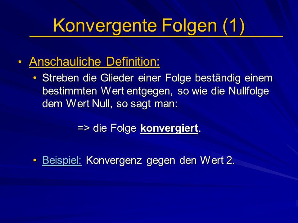 Konvergente Folgen (1) Anschauliche Definition: