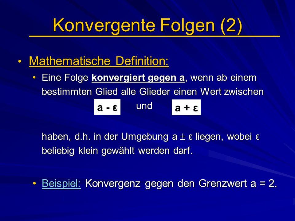 Konvergente Folgen (2) Mathematische Definition: a - ε a + ε
