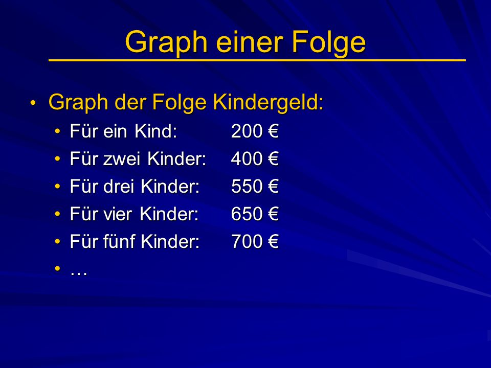Graph einer Folge Graph der Folge Kindergeld: Für ein Kind: 200 €