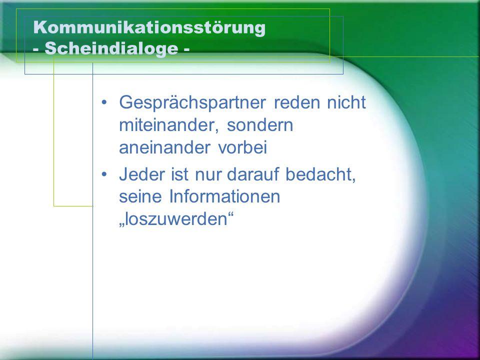 Kommunikationsstörung - Scheindialoge -