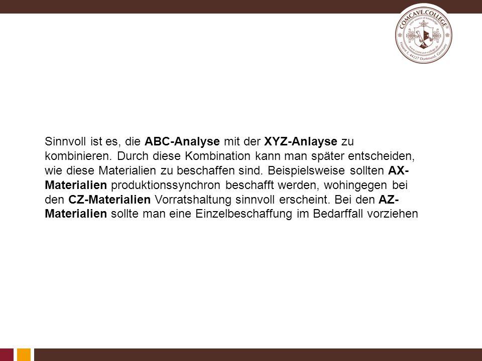Sinnvoll ist es, die ABC-Analyse mit der XYZ-Anlayse zu kombinieren