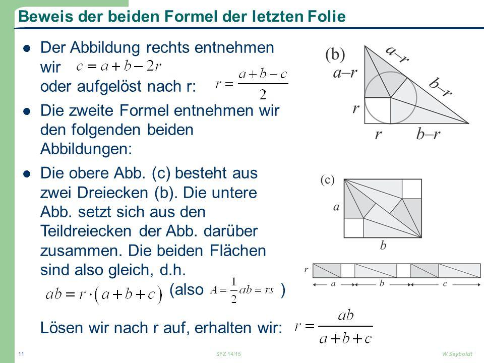 Beweis der beiden Formel der letzten Folie