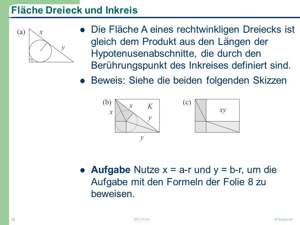 Fläche Dreieck und Inkreis