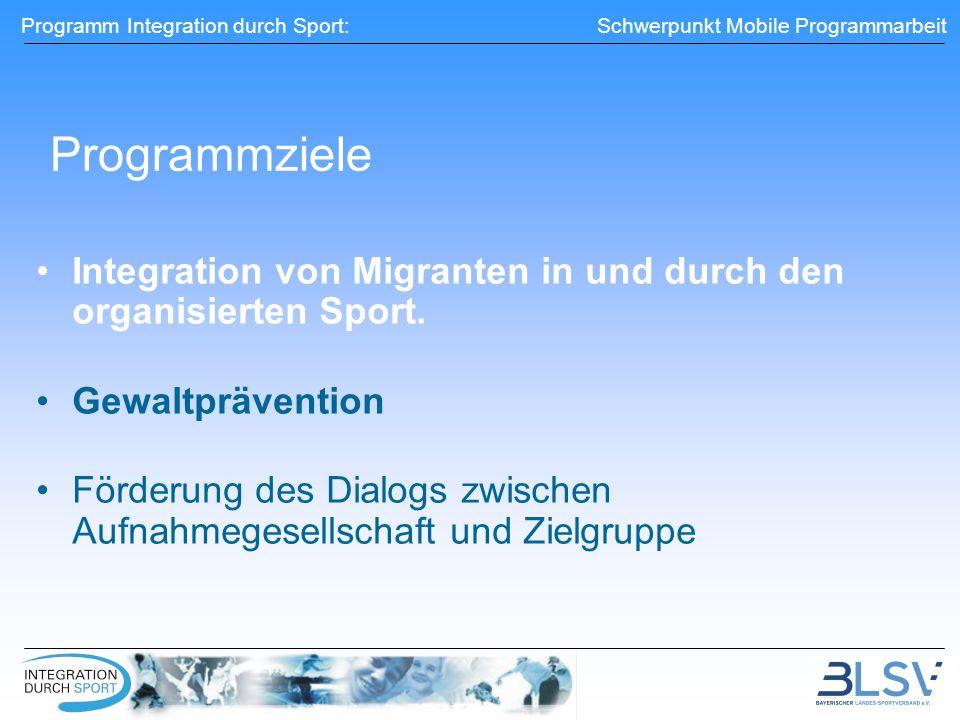 Programmziele Integration von Migranten in und durch den organisierten Sport. Gewaltprävention.