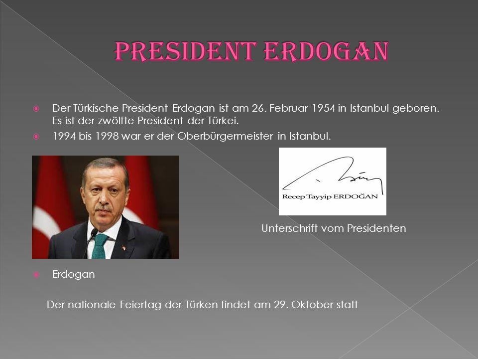 President Erdogan Der Türkische President Erdogan ist am 26. Februar 1954 in Istanbul geboren. Es ist der zwölfte President der Türkei.