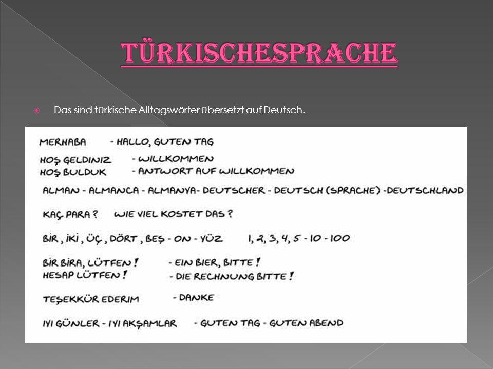 Türkischesprache Das sind türkische Alltagswörter übersetzt auf Deutsch.