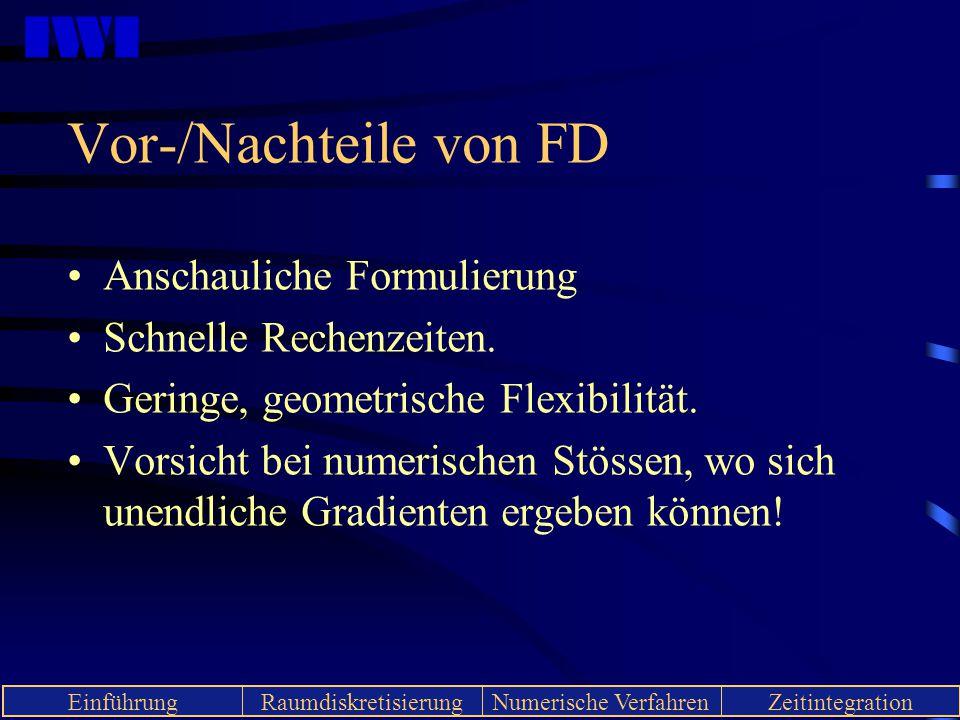Vor-/Nachteile von FD Anschauliche Formulierung Schnelle Rechenzeiten.