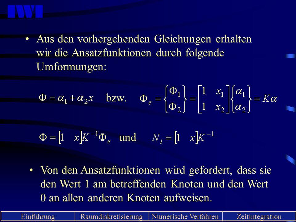Aus den vorhergehenden Gleichungen erhalten wir die Ansatzfunktionen durch folgende Umformungen: