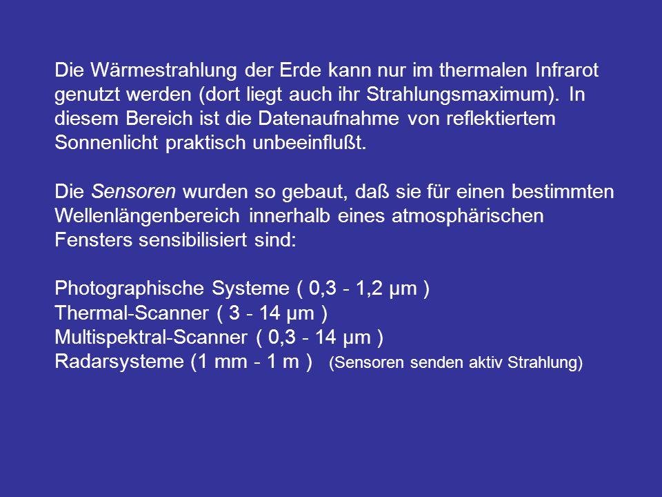 Die Wärmestrahlung der Erde kann nur im thermalen Infrarot genutzt werden (dort liegt auch ihr Strahlungsmaximum). In diesem Bereich ist die Datenaufnahme von reflektiertem Sonnenlicht praktisch unbeeinflußt.