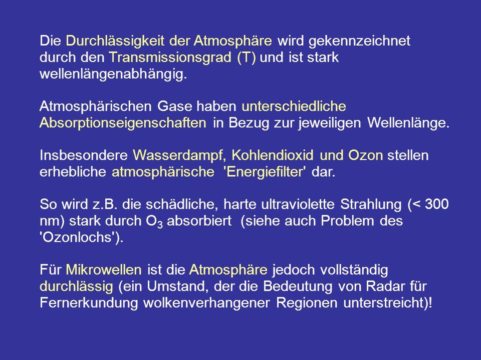 Die Durchlässigkeit der Atmosphäre wird gekennzeichnet durch den Transmissionsgrad (T) und ist stark wellenlängenabhängig.
