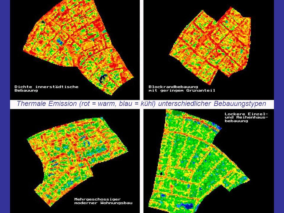 Thermale Emission (rot = warm, blau = kühl) unterschiedlicher Bebauungstypen