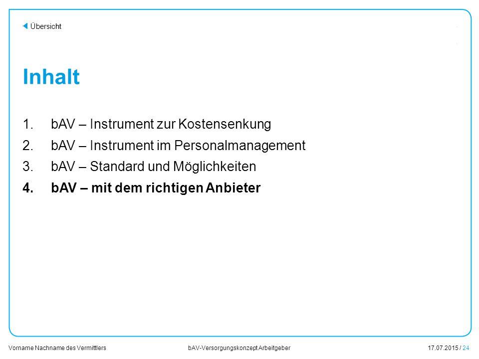 Inhalt 1. bAV – Instrument zur Kostensenkung