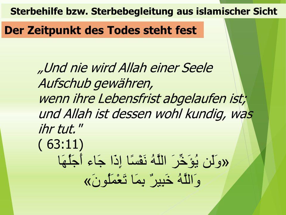 Sterbehilfe bzw. Sterbebegleitung aus islamischer Sicht