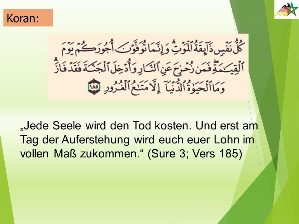 """Koran: """"Jede Seele wird den Tod kosten."""