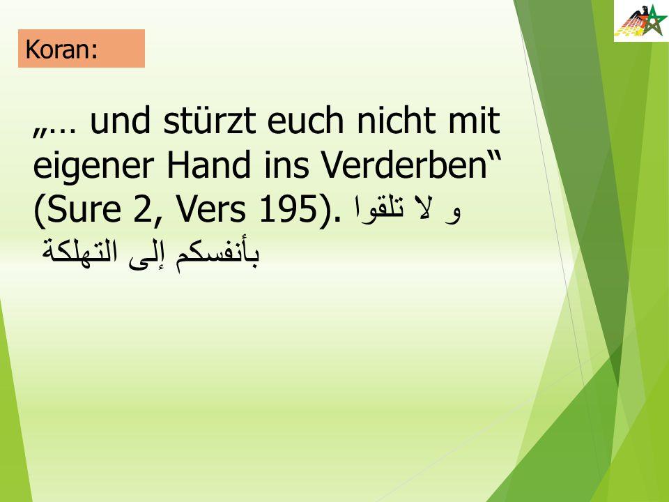 """Koran: """"… und stürzt euch nicht mit eigener Hand ins Verderben (Sure 2, Vers 195)."""