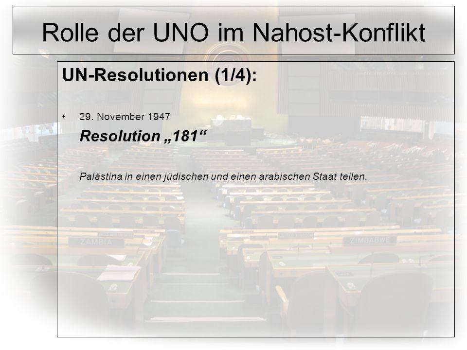 Rolle der UNO im Nahost-Konflikt