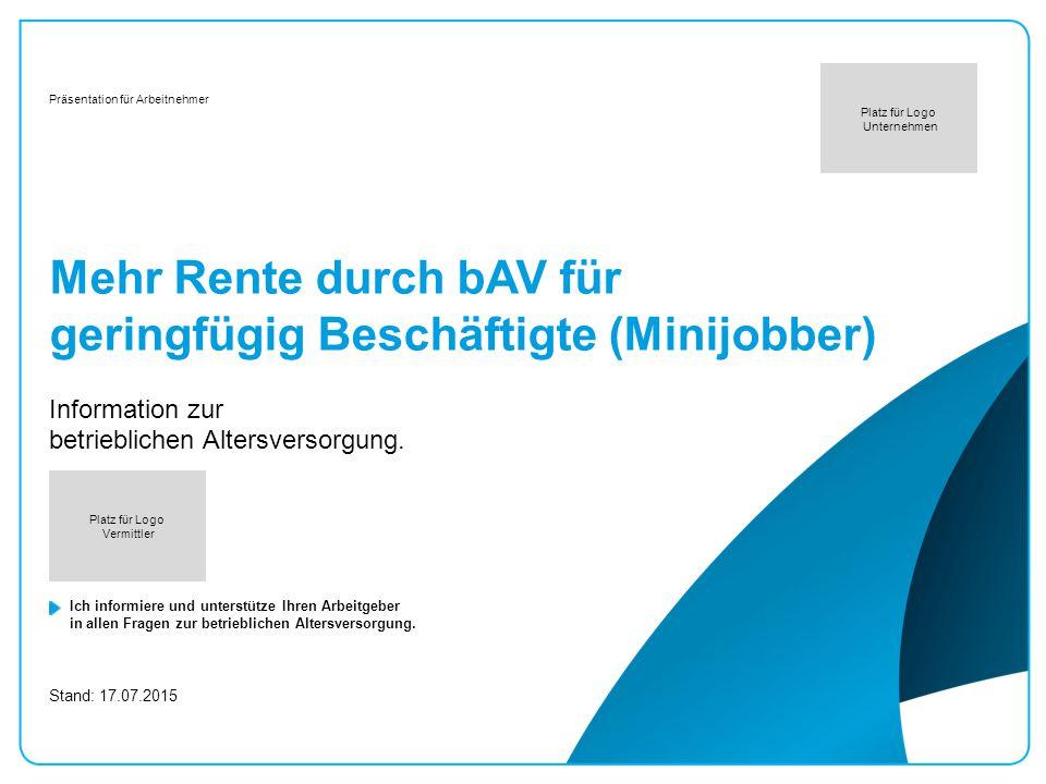 Mehr Rente durch bAV für geringfügig Beschäftigte (Minijobber)