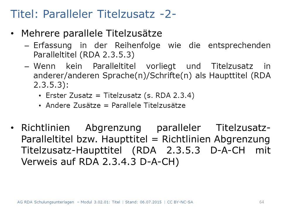 Titel: Paralleler Titelzusatz -2-
