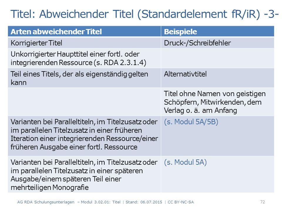 Titel: Abweichender Titel (Standardelement fR/iR) -3-