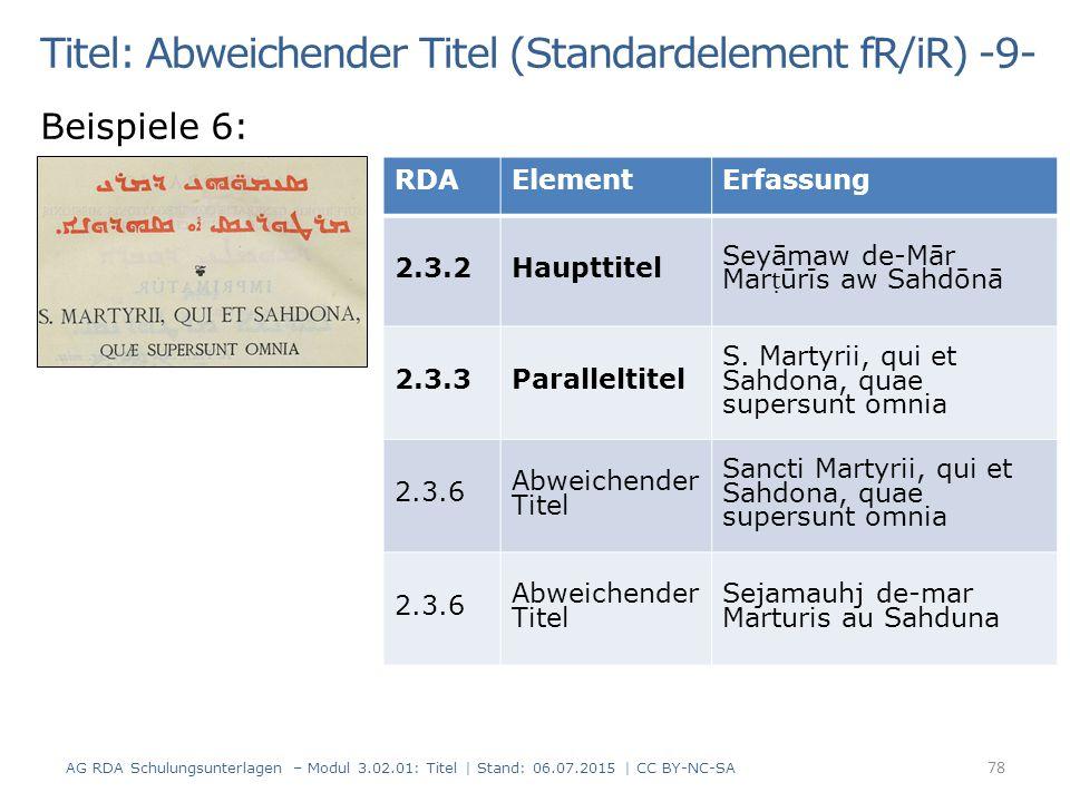 Titel: Abweichender Titel (Standardelement fR/iR) -9-