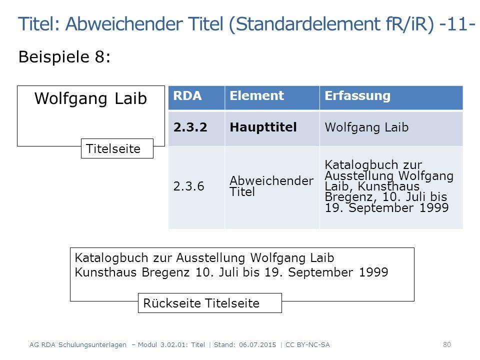Titel: Abweichender Titel (Standardelement fR/iR) -11-