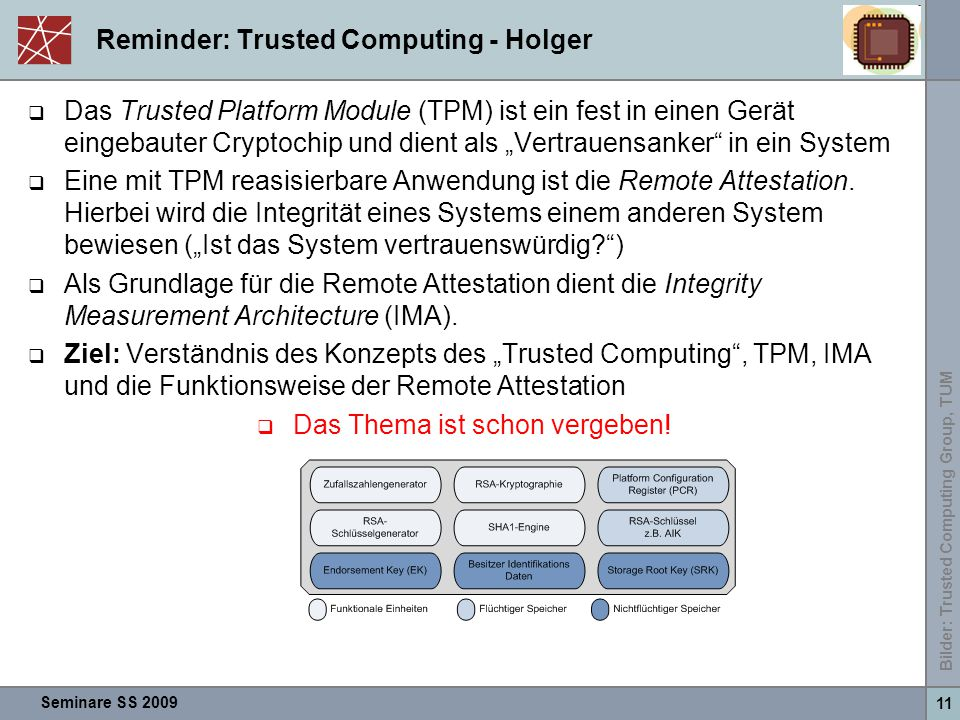 Reminder: Trusted Computing - Holger