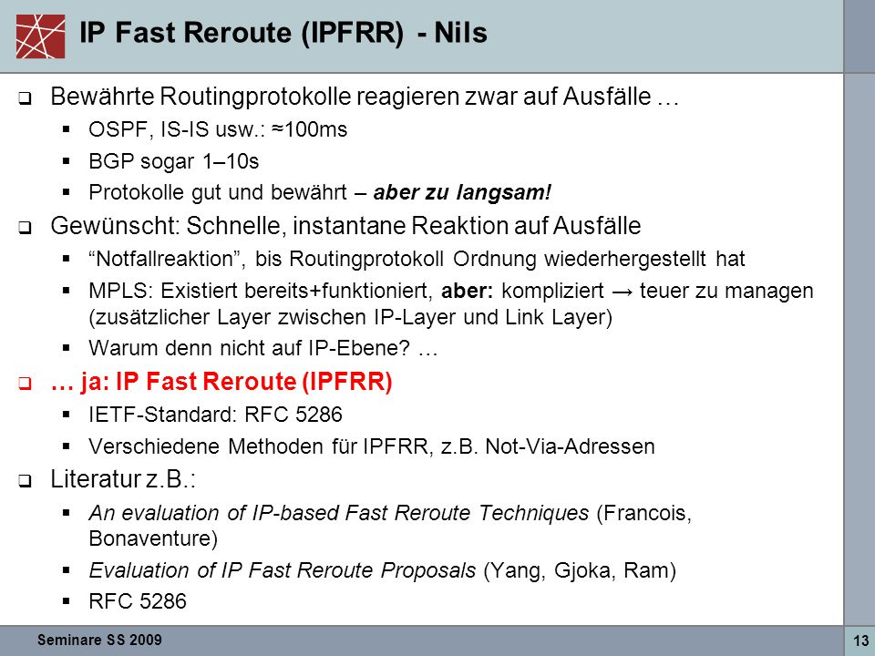 IP Fast Reroute (IPFRR) - Nils