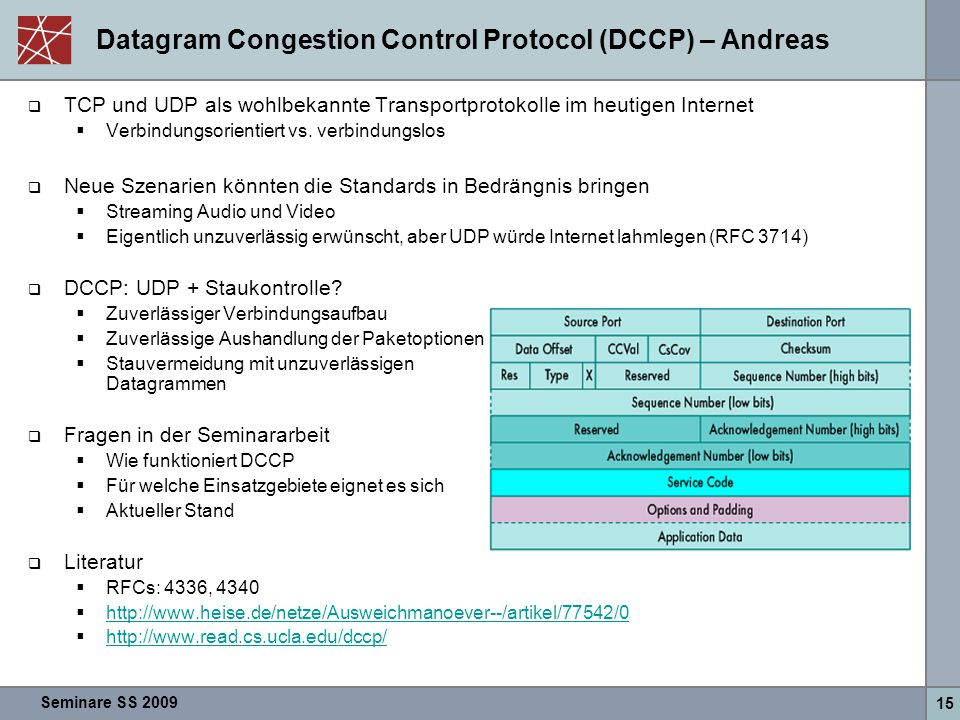 Datagram Congestion Control Protocol (DCCP) – Andreas