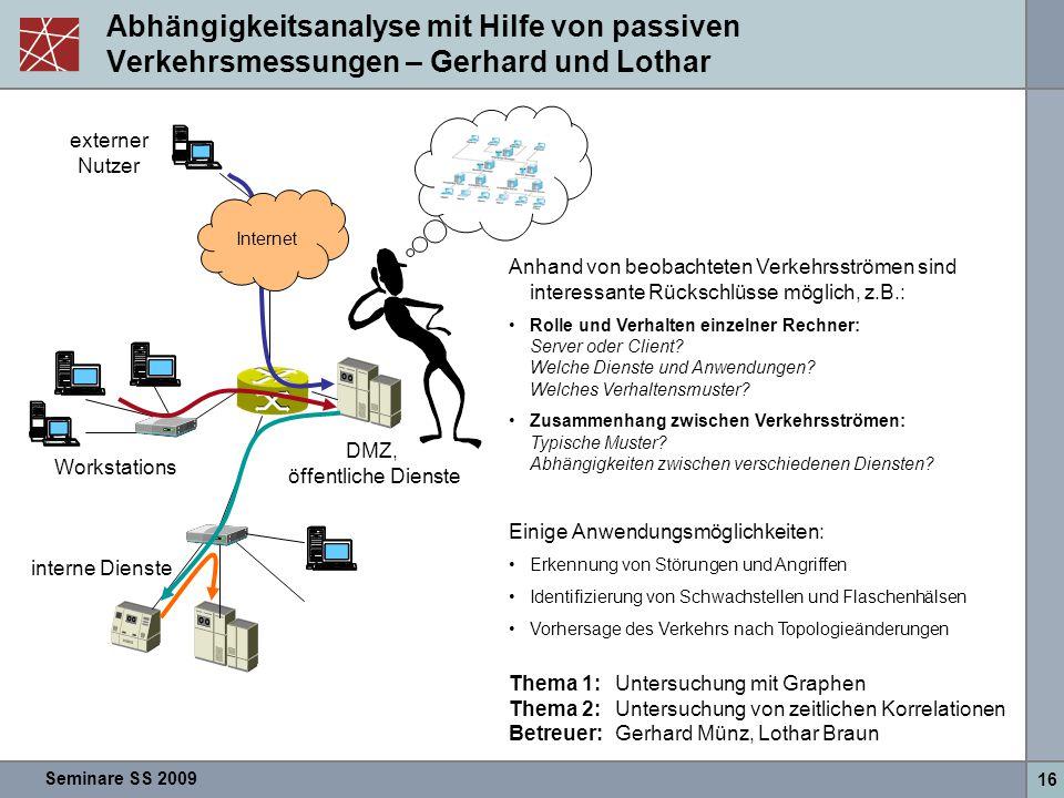 Abhängigkeitsanalyse mit Hilfe von passiven Verkehrsmessungen – Gerhard und Lothar