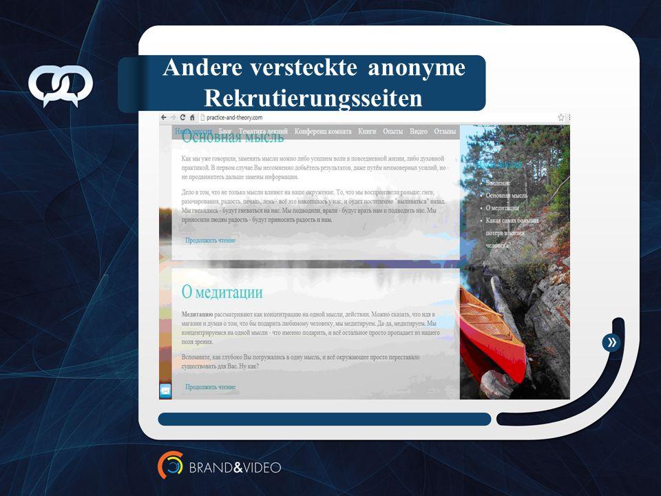 Andere versteckte anonyme Rekrutierungsseiten