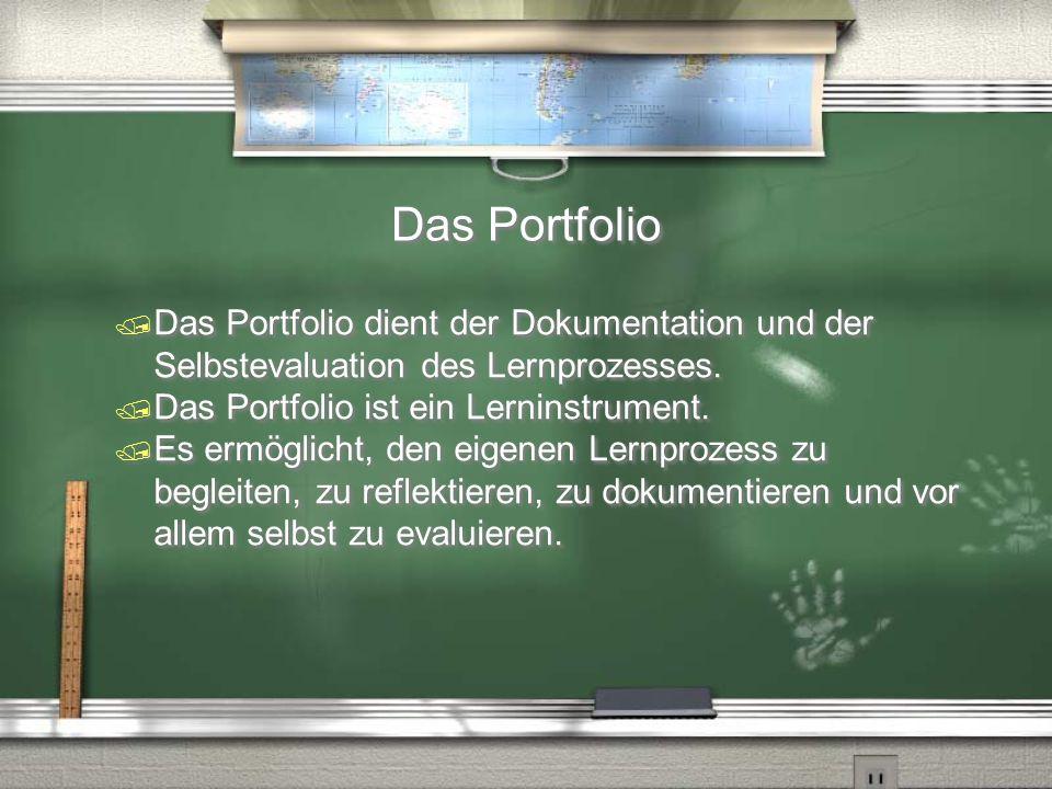 Das Portfolio Das Portfolio dient der Dokumentation und der Selbstevaluation des Lernprozesses. Das Portfolio ist ein Lerninstrument.
