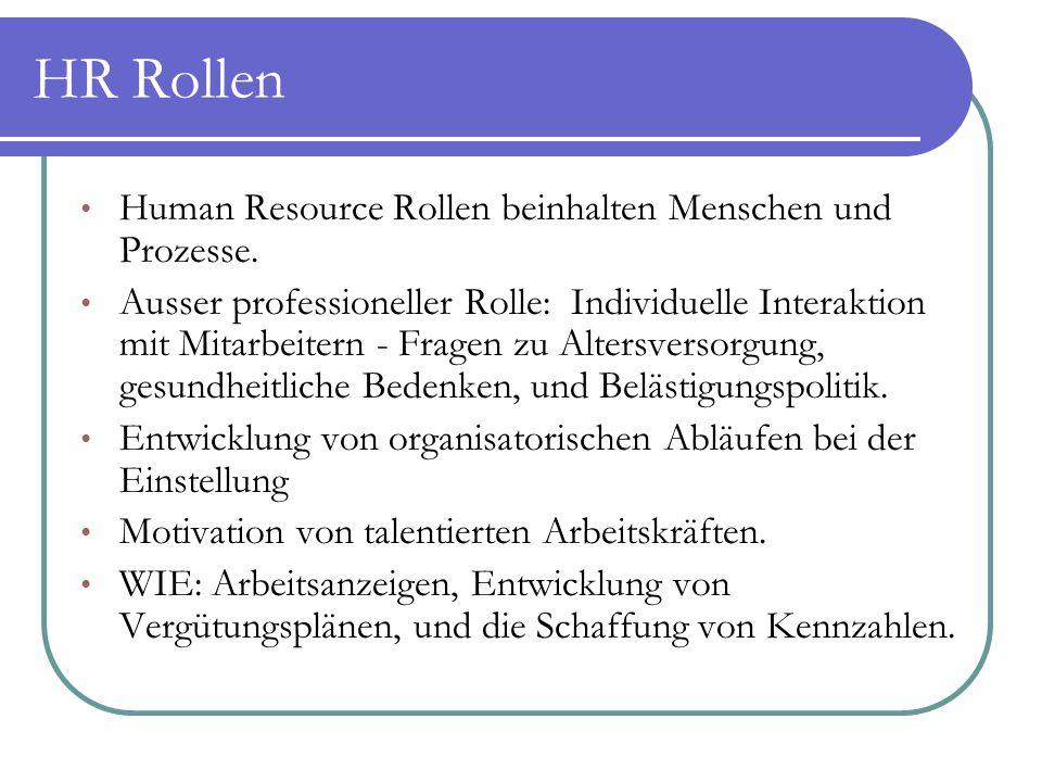 HR Rollen Human Resource Rollen beinhalten Menschen und Prozesse.